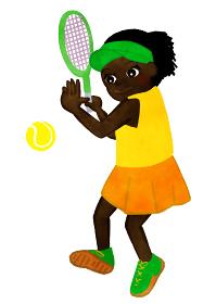 テニス少女 ラケットでテニスボールを打つ場面 アフリカンアメリカン人バージョン