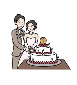 ケーキ入刀のイラスト