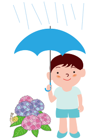 傘をさす男の子と紫陽花
