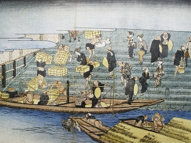 江戸時代の大阪八軒家浜の図画