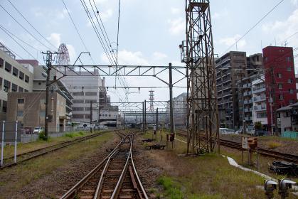鹿児島中央駅近くの踏切から見たJRの線路