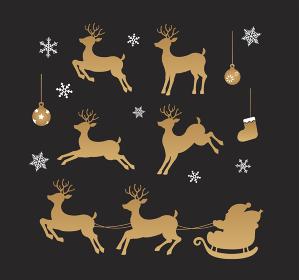 クリスマス素材 / トナカイ・サンタクロースのシルエットイラストセット (ゴールド)