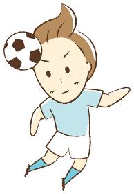 サッカーをする少年 ヘディング