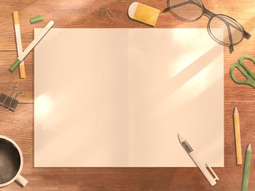 ノートを広げた木製のデスク 午後の光(ヨコ)