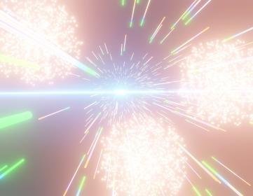 ワープの中の花火、3Dレンダリング