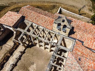 Aerial view of the abandoned abbey of Santa Maria de RIoseco. , Rioseco, CL, Spain