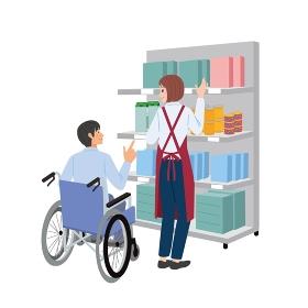 車椅子の男性と品物を手に取る女性のイラスト