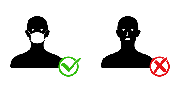 マスクと人物アイコン 感染予防