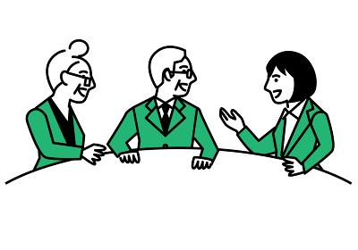 年配者と話し合う女性