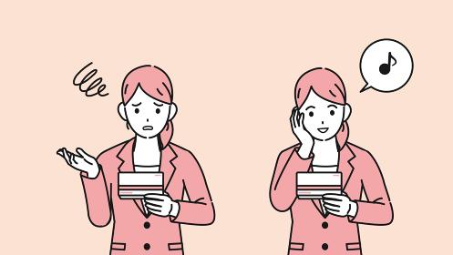 通帳を見て喜ぶ 困る スーツ姿の女性 会社員 給料 金欠 支払い イラスト素材