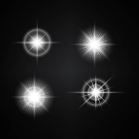 Vector Set of Different White Lights. Different Stars Collection. Star Lights