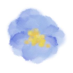 イラスト素材 水彩 花 手描き 青