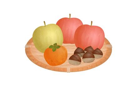 食材のイラスト、ざるに乗った秋の果物の透明水彩風.ベクターイラスト