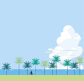 ヤシの木と入道雲の南国の夏の日