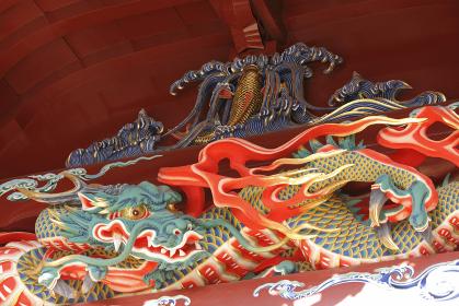 伊豆山神社 拝殿の彫刻 龍
