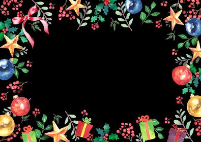 水彩で描いたクリスマスのフレーム