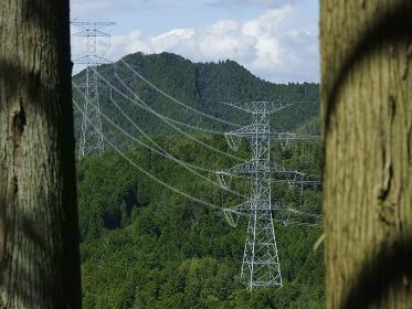山中の高圧送電線