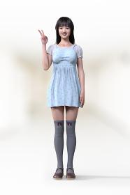 フェミニンなワンピースを着てニーハイを履いた若い女の子がピースサインで正面を向いている