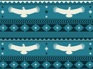 南米の民族風の図形とコンドルのパターン