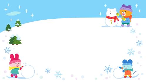 雪あそびをするクマ・ウサギ・ネズミ/フレーム