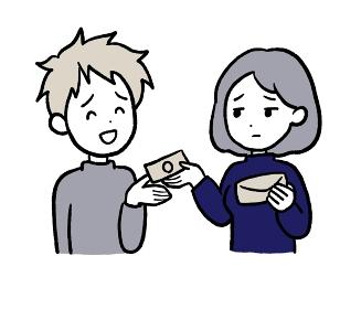 お金を貸す女性のイラスト