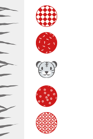 トラの顔と丸く囲った模様とトラ柄の年賀状イラスト