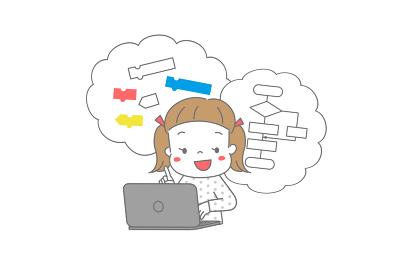パソコンでプログラミング学習をしている女の子