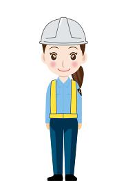 働く人交通誘導員ガードマン女性警備員のイラスト直立制服笑顔安全反射ベスト