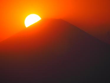葉山真名瀬からの富士山の夕日