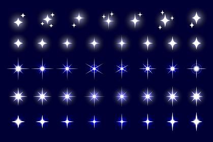 キラキラ、光のアイコン素材セット