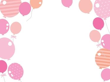 ピンクの風船のフレームイラスト