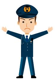 働く人制止のポーズをする警官・警察官・お巡りさんのイラスト若者青年