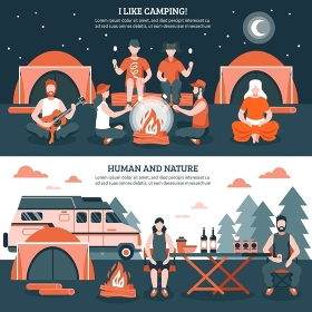 Camping In The Wild Banners. Two horizontal camping and hiking banners with groups of flat faceless people characters tent and bonfire vector illustration