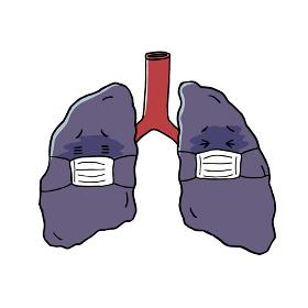 マスクをした肺のキャラクター