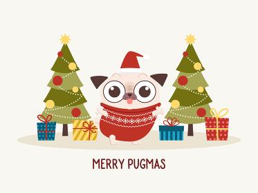 パグキャラクター、クリスマスツリー、プレゼントのクリスマスカードデザイン