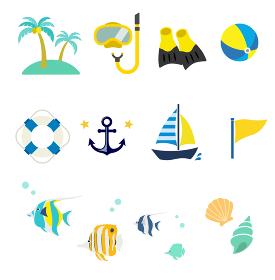 夏の海 アイコンセット