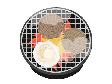 七輪で焼くホタテ貝のイラスト