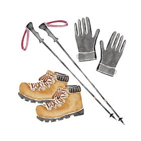 登山 ハイキング トレッキング 道具 アイテム 登山靴 手袋 ポール 水彩 イラスト