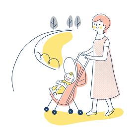 ベビーカーでお散歩する赤ちゃんとママ