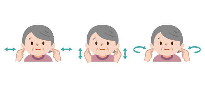 耳ストレッチをするシニア女性