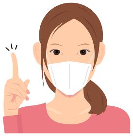 マスクを着けた若い女性 (上半身) イラスト(アイデア・閃き・ここがポイント) / コロナウイルス