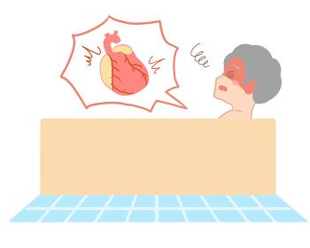 入浴で心臓に負担がかかる 横向き 高齢女性(