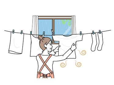 室内干し 洗濯物が臭う 臭い 困る主婦 家事 女性 イラスト素材