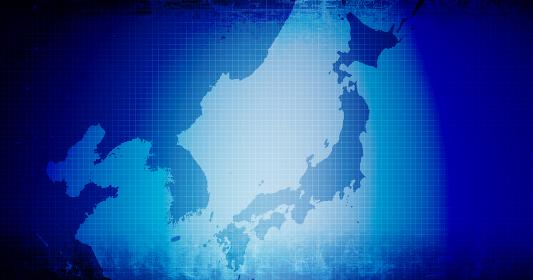 バナー・背景素材 / 東アジアと日本 (韓国/北朝鮮/中国) /クール・青系・ビジネス・政治