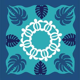 ハワイアンキルトのパターン ヤシの木海亀ホヌモンステラ背景イラスト夏のイメージ ベクターデータ