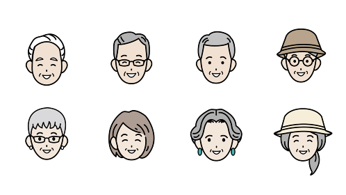 シニア 高齢者 老夫婦 人々 男女 顔 アイコン イラスト素材