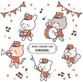 動物のマーチングバンド 行進 キャラクターセット 2色