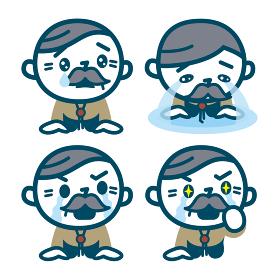 涙を流すシニア男性のセット