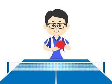 卓球をプレイする男性のイラスト