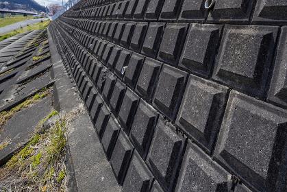 堤防のブロック斜めアングル 4825